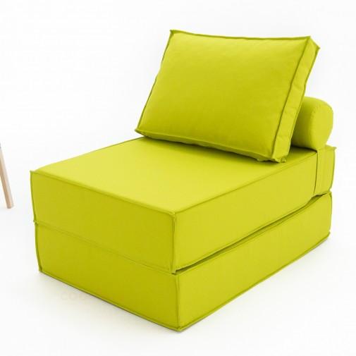 Бескаркасный диванчик-раскладушка Рогожка зеленый