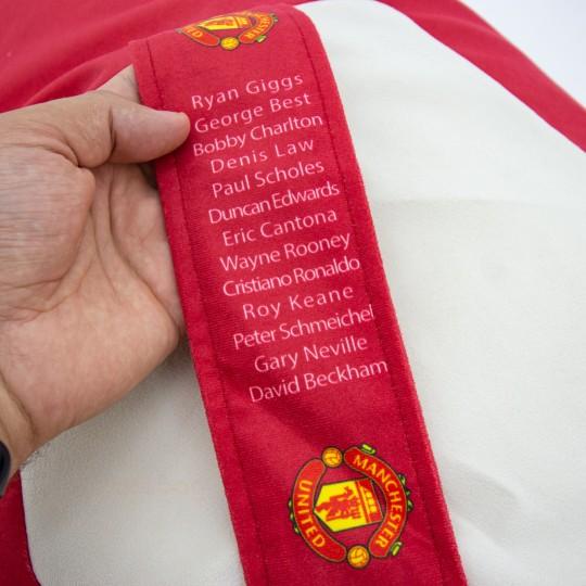 Кресло мяч красно-белый ВЕЛЮР с логотипом Манчестер Юнайтед MU