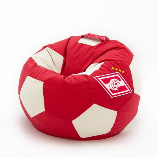 Кресло мяч красно-белый ВЕЛЮР с логотипом Спартак